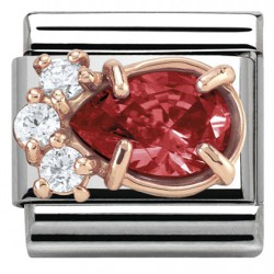 Composable, 9k oro rosa, gota circonita roja