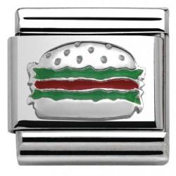 Composable,plata 925 con esmalte, hamburguesa
